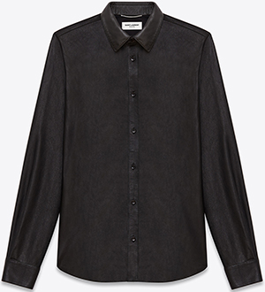 Saint Laurent Signature Yves Collar Shirt in Black Leather: US$3,150.
