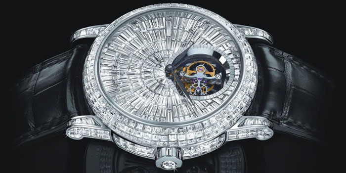 Blancpain Spécialités Tourbillon Diamants Watch. Features 735 diamond stones (20.14 carats) encrusted on a 18k white gold 3 piece case set and 29 added jewels placed on the automatic caliber 25A tourbillon movement. Price: US$1,342,700.