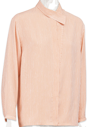Hermès asymmetrical collar dress shirt in gingerbread brown striped silk: US$1,775.
