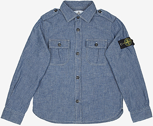 Stone Island Long Sleeve Chambray Shirt in Blue: £100.