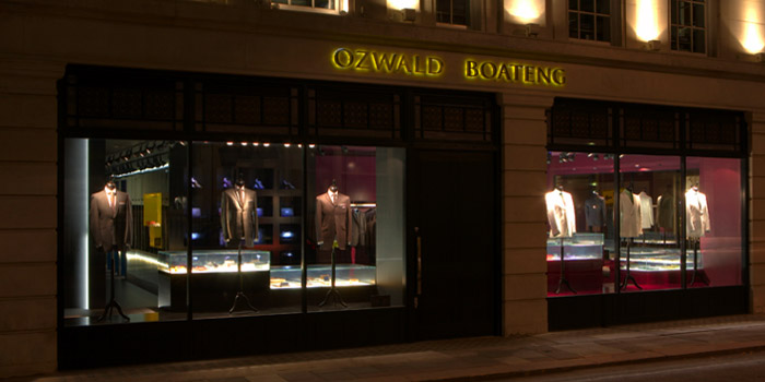 Ozwald Boateng's Flagship Store, 30 Savile Row, London W1S 3PT, England, U.K. Coined the term bespoke couturier.