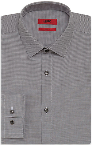 'EagelX' | Slim Fit, Point Collar Cotton Patterned Dress Shirt by HUGO: US$175.