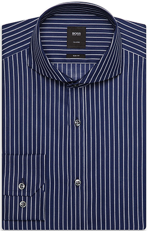 'T-Swain' | Slim Fit, Spread Collar Italian Cotton Striped Dress Shirt by BOSS: US$275.