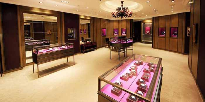 Inside Boucheron's flagship store at Lagoona Mall, West Bay, 615 Doha, Qatar.