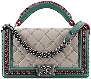 Chanel Calfskin Boy Chanel Flap Bag with Top Handle.