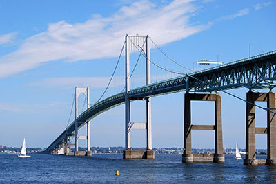 The Claiborne Pell Bridge, commonly known as the Newport Bridge, between Jamestown and Newport, Rhode Island.