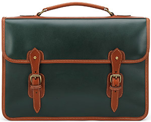 Tusting Harrold Wymington Leather Briefcase in Green and Tan: £480.