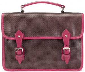 Tusting Quibton Satchel in Purple Weave Leather with Raspberry Trim: £299.