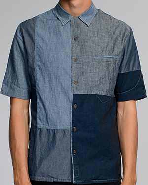 Nudie Jeans Brody Crazy Pattern Bowling Shirt Blue.