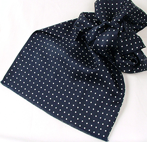 Bromleys men's Navy Polka Dot Silk Scarf.
