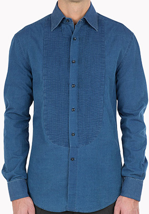 Brunello Cucinelli Denim dinner jacket shirt, slim-fit with plastron and French cuffs. Made In Italy: US$875.