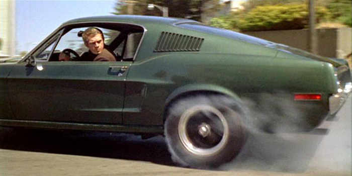 Detective Bullitt creating significant smoke during the climactic chase scene.
