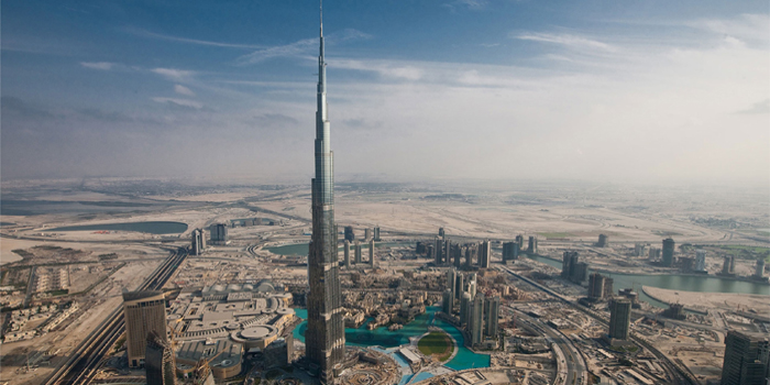 Burj Khalifa in Dubai - the tallest man-made structure ever built: 2,717 ft / 828 m, 163 habitable floors, plus 46 maintenance levels in the spire and 2 parking levels in the basement.