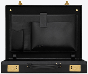 Yves Saint Laurent Classic Toile Monogram Attaché Case in Black Printed Cancas and Leather: US$4,690.