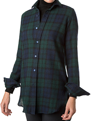 Paul Stuart Green/Navy Plaid Wool Gauze Over Shirt: US$417.