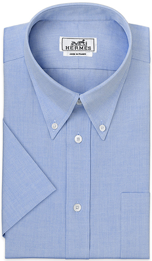 Hermès Classic men's shirt, button down collar, button cuff, short sleeve, pocket, plain pinpoint (100% cotton): US$410.