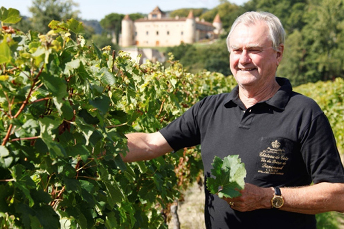 His Royal Highness the Prince Consort Henrik of Denmark at his vineyard of the Château de Cayx, Cahors, 46140 Luzech, France.