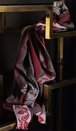 Canali silk-wool scarf in burgundy and periwinkle.