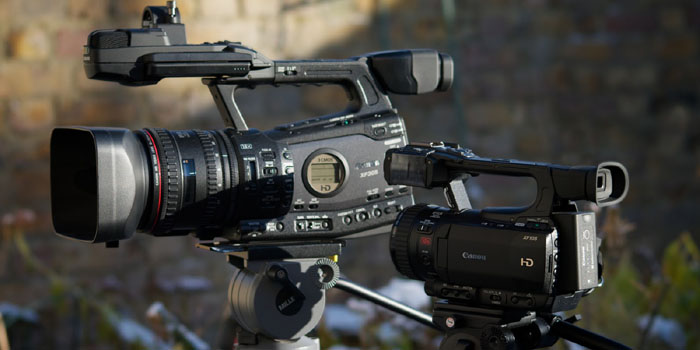 Canon XF305 and XF105 high definition camcorders.