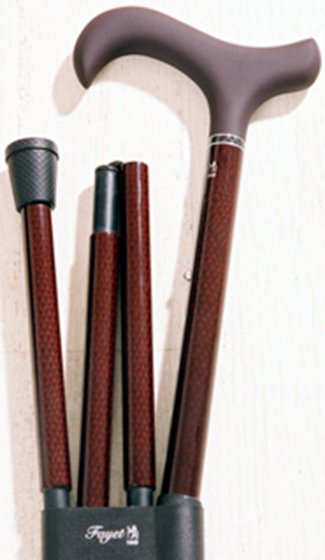Phoenix Walking Stick Company Claret diamond Carbon Fibre folding stick with soft touch Derby handle: £43.