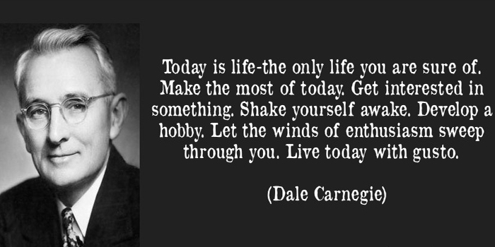 Dale Carnegie (1888-1955). American writer, lecturer, and the developer of famous courses in self-improvement, salesmanship, corporate training, public speaking, and interpersonal skills.