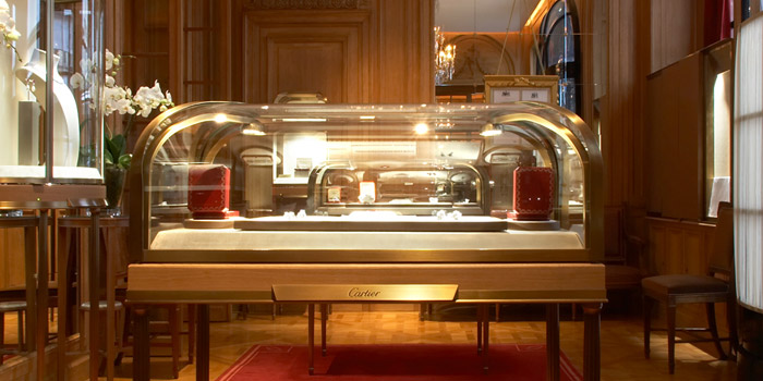 Inside Cartier's flagship store in Paris, 13 Rue de la Paix, 75002 Paris, France.
