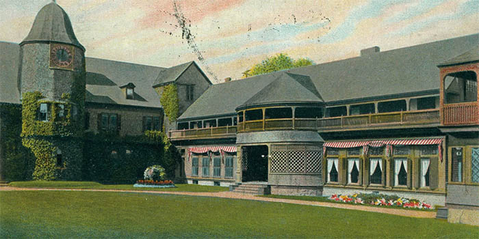 Newport Casino (Postcard, North Wing of Newport Casino, taken from Horseshoe Courtyard, circa 1900), 186-202 Bellevue Avenue, Newport, RI 02840, U.S.A.