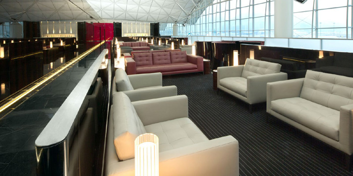 The Wing is Cathay Pacific's flagship lounge at the Hong Kong International Airport.