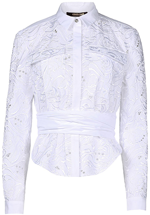 Roberto Cavalli Poplin, Embroidered detailing, Dual button cuffs, Hidden buttons, Dual chest pockets long sleeve women's shirt: US$2,325.