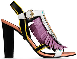 Just Cavalli Rubber sole, Side buckle closure, Fringe, Contrasting applications High-Heeled Women's Sandals: US$520.