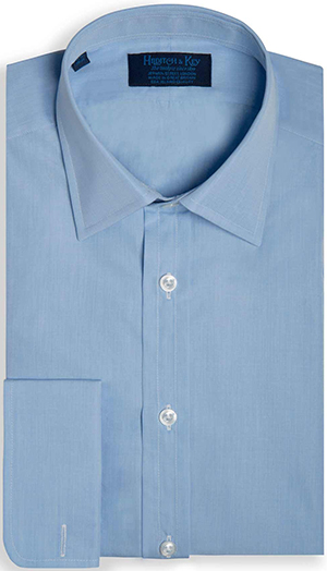 Hilditch & Key Blue end on end Sea Island quality, classic collar shirt, made from the finest two fold poplin with real shell buttons. Double cuff. 100% cotton: £215.