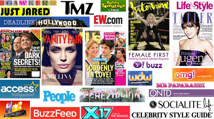 Top 200+ celebrity & gossip magazines, media & websites.