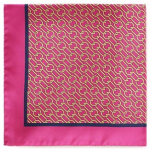 New & Lingwood Chain Link Fuschia/gold Pocket Square: £55.