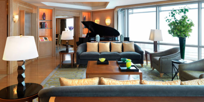 The living room of the Chairman Suite at Grand Hyatt Shanghai, Jin Mao Tower, 88 Century Avenue, Pudong, Shanghai 200121, People's Republic of China.