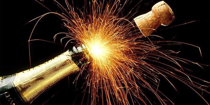 Happy new year champagne celebration.