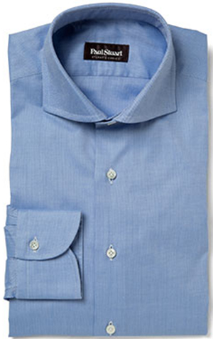 Paul Stuart's Choice Blue 120's 2-ply Cotton Textured Dress Shirt: US$397.
