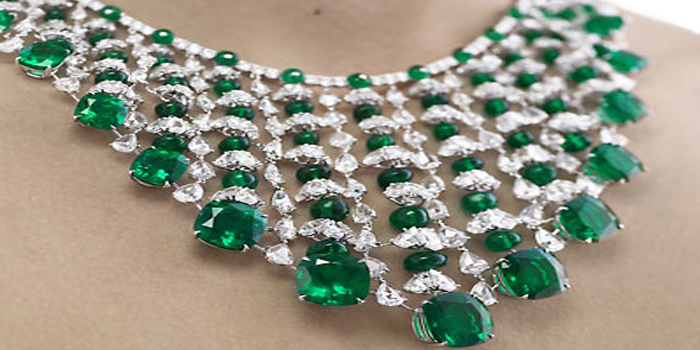 Chopard emerald & diamond necklace. This US$3 million emerald necklace features 191 carats of emeralds set between 16 carats of diamonds.