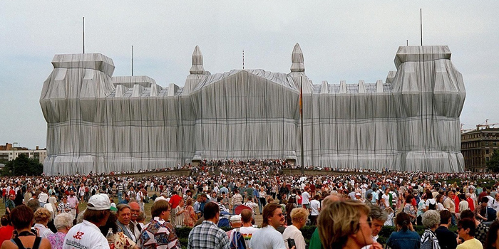 Wrapped Reichstag (1995) by Christo (1935-) and Jeanne-Claude (1935-2009).