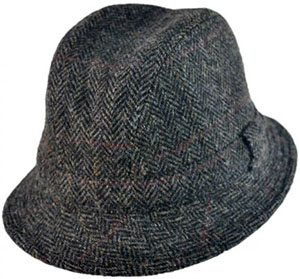 City Sport Cap Harris Tweed Windowpane Walker Fedora Hat: US$92.