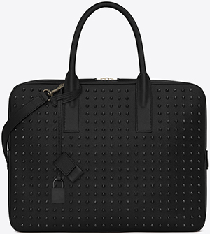 Yves Saint Laurent Classic Museums Small Briefcase in Black Grain de Poudre Texttured Leather and Oxidized Nickel Studs: US$3,450.