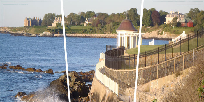 The Newport Cliff Walk is considered one of the top attractions in Newport. It is a 3.5-mile (5.6 km) public access walkway that borders the shore line.