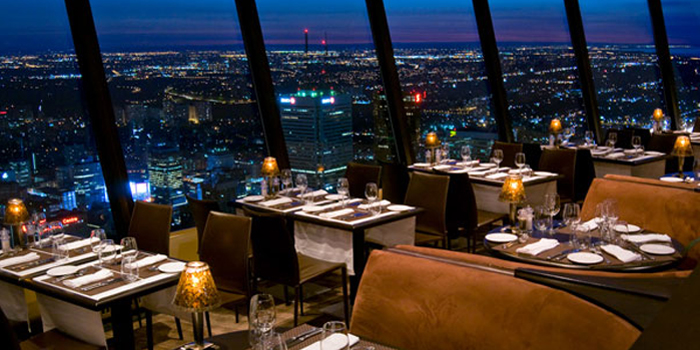 360 The Restaurant at the CN Tower, 301 Front St W, Downtown Toronto, Ontario M5V 2T6, Canada. World's second highest and largest revolving restaurant: 351 meters (1,151 ft).