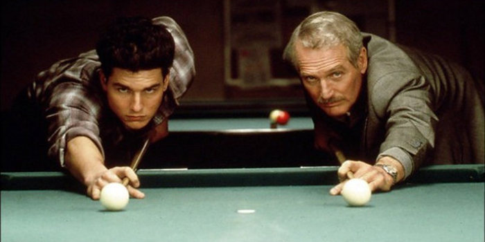 Paul Newman and Tom Cruise shooting 9-ball pool in the movie The Color of Money (1986).
