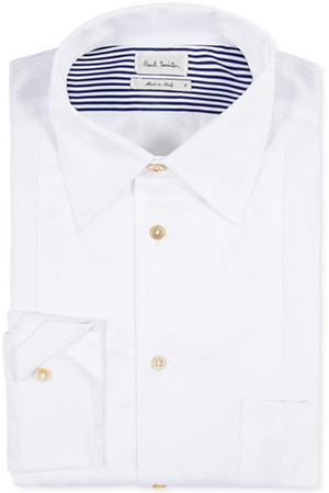 Paul Smith White Piece-Constructed Satin-Front Shirt: £210.