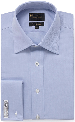 New & Lingwood Sea Island Cotton Double Cuff Pale Blue/white shirt: £250.