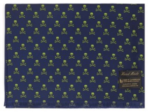 New & Lingwood Skull & Crossbones Navy/Lime Men's Scarf: £195.