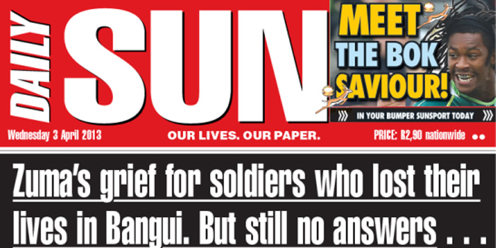 Daily Sun - the biggest daily newspaper in South Africa.