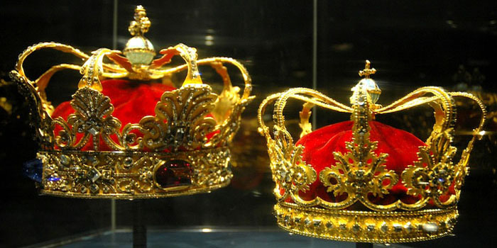 The Danish crown jewels at Rosenborg Castle, Copenhagen, Denmark.