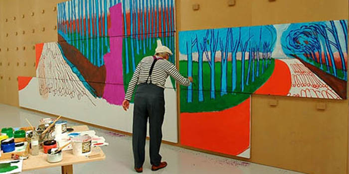 David Hockney painting landscapes (2009).