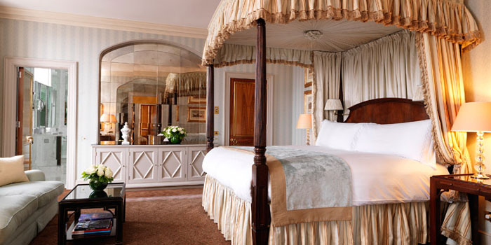 The master bedroom of the Davies Penthouse Suite at Claridge's, Brook Street, Mayfair, London W1K 4HR, England, U.K.